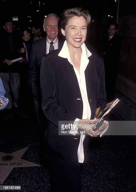 Actress Annette Bening attends the 'Falsetto' Opening Night Performance on April 28 1994 at the James A Doolittle Theatre in Hollywood California