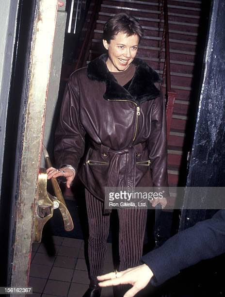 Actress Annette Bening attends the 'Mrs Klein' OffBroadway Play Performance on March 5 1996 at the Lucille Lortell Theatre in New York City