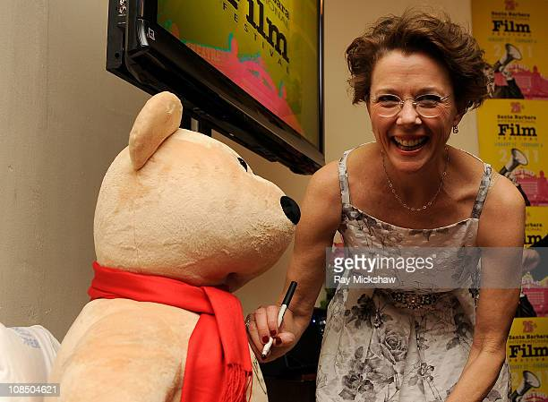 Actress Annette Bening backstage at the American Riviera Awards Truibute to Annette Bening held at the Arlington Theater on January 28 2011 in Santa...