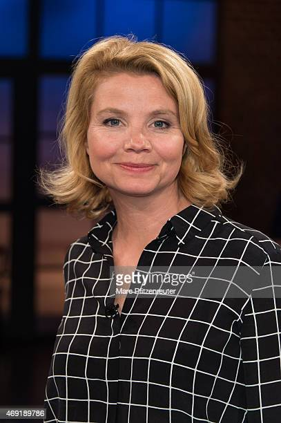 Actress Annette Frier attends the 'Koelner Treff' TV Show at the WDR Studio on April 10 2015 in Cologne Germany