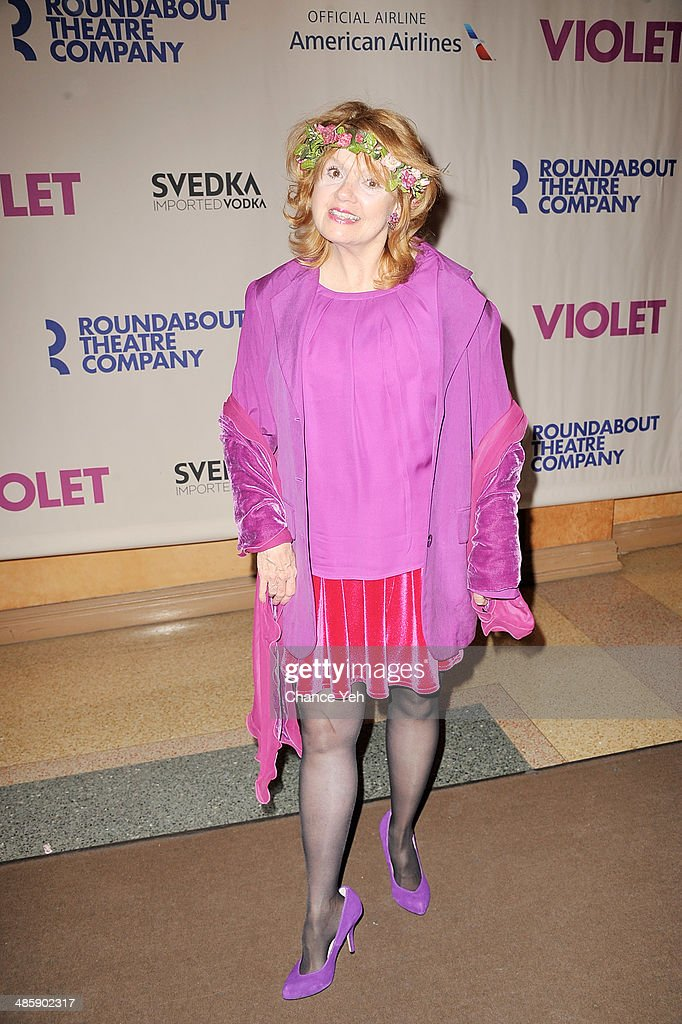 Actress <a gi-track='captionPersonalityLinkClicked' href=/galleries/search?phrase=Annie+Golden&family=editorial&specificpeople=5791084 ng-click='$event.stopPropagation()'>Annie Golden</a> attends the 'Violet' Opening Night at American Airlines Theatre on April 20, 2014 in New York City.