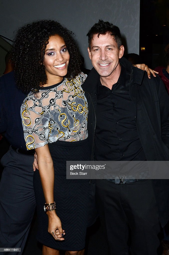 Actress <a gi-track='captionPersonalityLinkClicked' href=/galleries/search?phrase=Annie+Ilonzeh&family=editorial&specificpeople=6860834 ng-click='$event.stopPropagation()'>Annie Ilonzeh</a> and talent agent Daniel Hoff attend Matt Barnes Foundation Athletes Vs. Cancer event at Versace Boutique on January 31, 2014 in Beverly Hills, California.