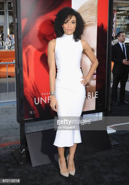 Actress Annie Ilonzeh arrives at the Los Angeles Premiere 'Unforgettable' at TCL Chinese Theatre on April 18 2017 in Hollywood California