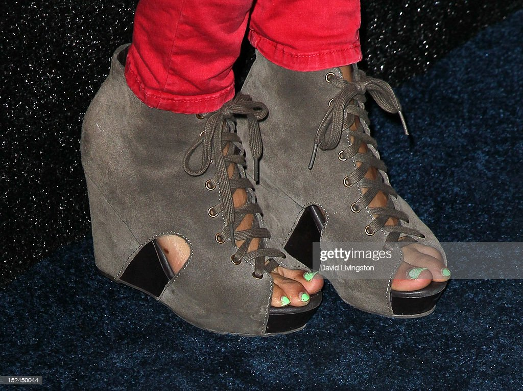 Actress Annie Ilonzeh (shoe detail) attends the People StyleWatch Denim Party at Palihouse on September 20, 2012 in West Hollywood, California.