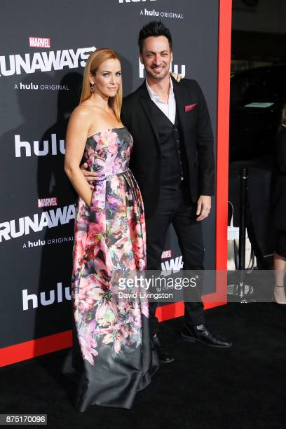 Actress Annie Wersching and actor Stephen Full arrive at the premiere of Hulu's 'Marvel's Runaways' at the Regency Bruin Theatre on November 16 2017...
