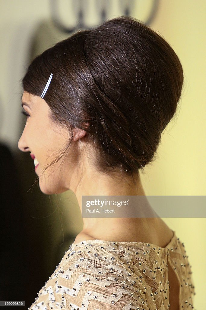 Actress Annika Marks (hair detail) arrives at the Audi Golden Globe 2013 Kick Off Party at Cecconi's Restaurant on January 6, 2013 in Los Angeles, California.