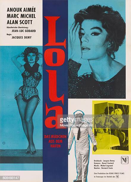 Actress Anouk Aimée features on a German poster for the movie 'Lola' 1961