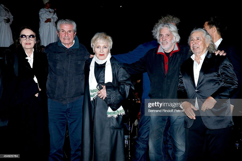 Actress Anouk Aimee, Director Claude Lelouch, Singer Nicole Croisille, Singer Pierre barouh and Composer of film music Francis Lai on stage at the end of the 'Claude Lelouch en Musique ! Held at the Invalides in Paris on September 6, 2014 in Paris, France.