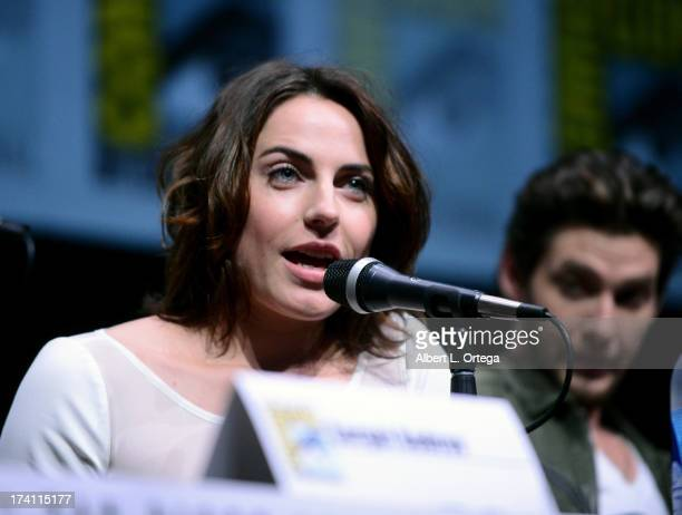 Actress Antje Traue speaks onstage at the Warner Bros and Legendary Pictures preview of 'Seventh Son' during ComicCon International 2013 at San Diego...