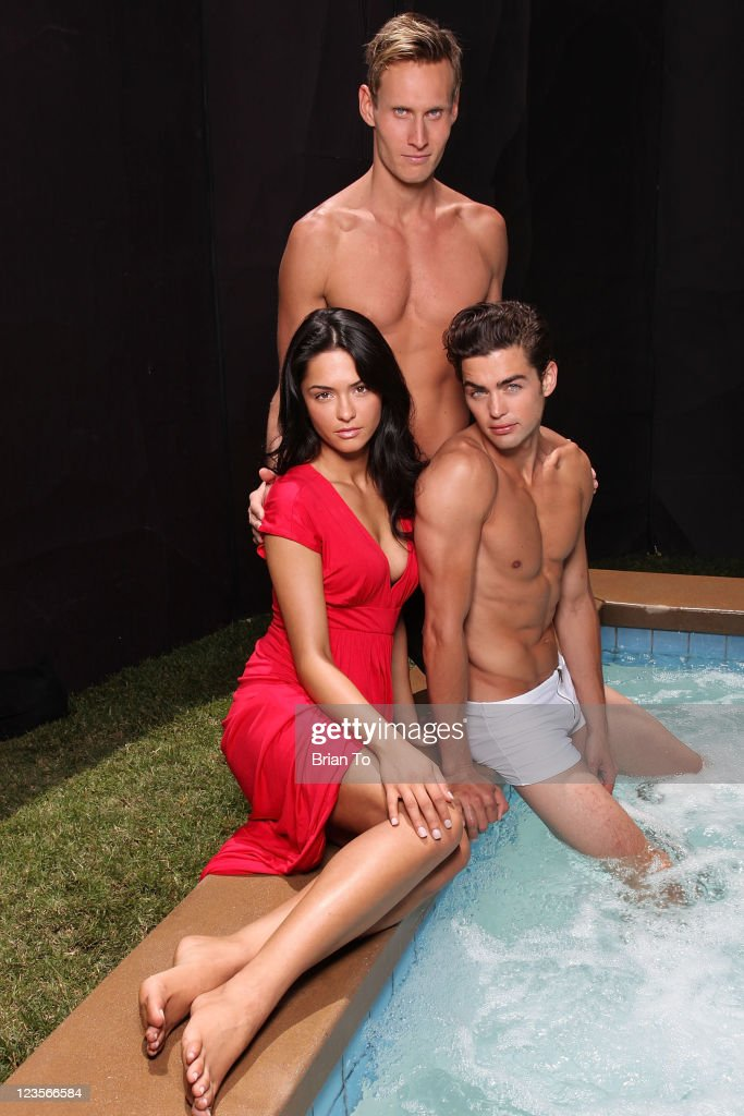 Actress Antoinette Nikprelaj from 'Pirates of the Caribbean: On Stranger Tides', trainer Luke Hines, and model Sterling Folkestad pose at private photo shoot on May 24, 2011 in Los Angeles, California.