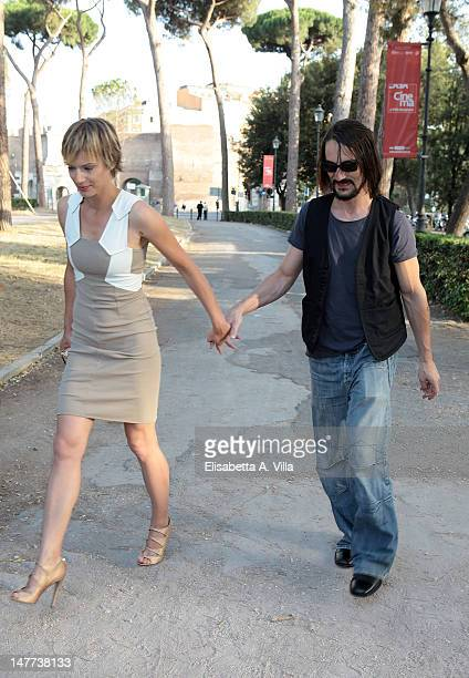Actress Antonia Liskova and actor Marco Foschi arrives at the 2012 Premio Afrodite at Casa del Cinema on July 2 2012 in Rome Italy