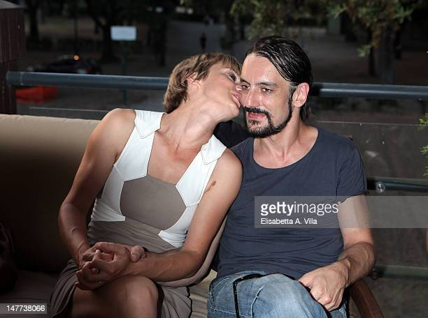 Actress Antonia Liskova and actor Marco Foschi attends the 2012 Premio Afrodite at Casa del Cinema on July 2 2012 in Rome Italy