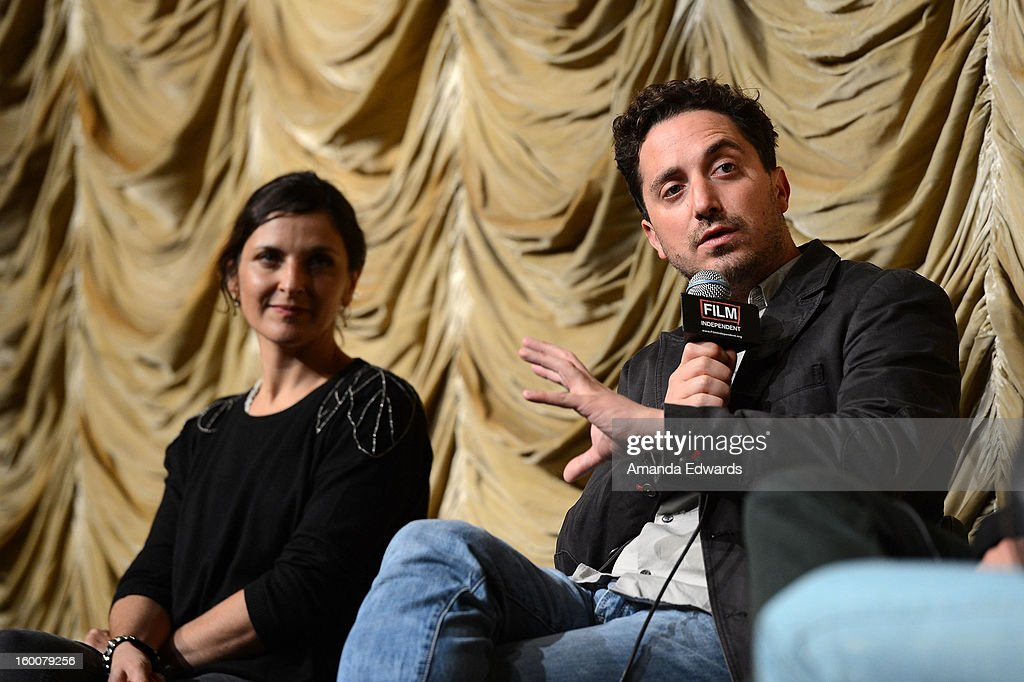Actress Antonia Zegers (L) and director Pablo Larrain attend the Film Independent At LACMA free screening of 'No' co-presented by The New York Times Film Club at the Bing Theatre At LACMA on January 25, 2013 in Los Angeles, California.