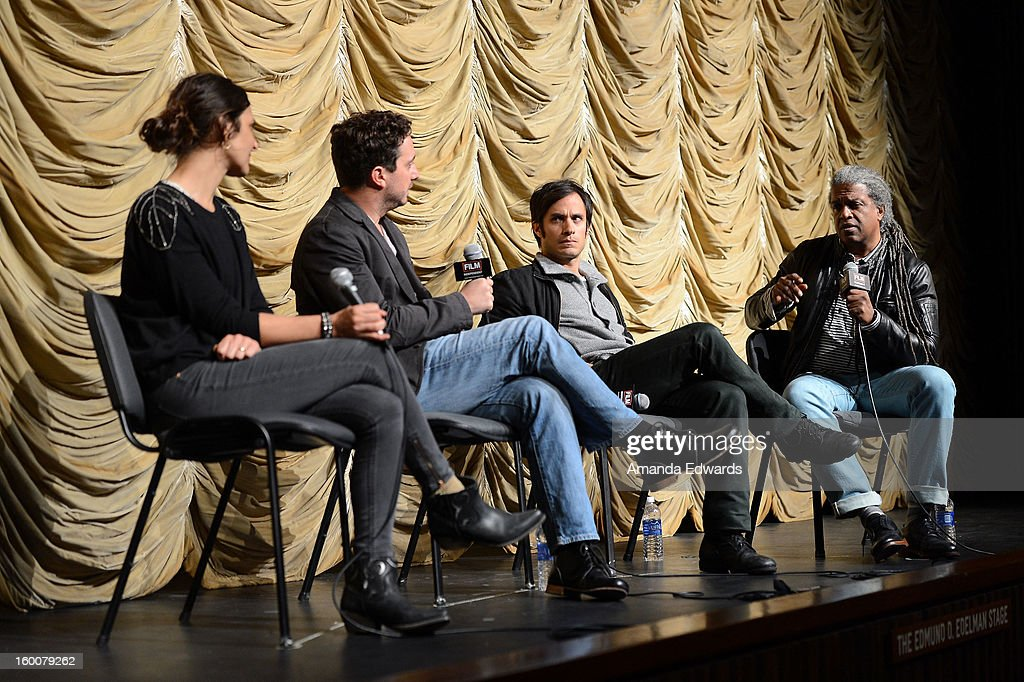 Actress Antonia Zegers, director Pablo Larrain, actor Gael Garcia Bernal and film curator Elvis Mitchell attend the Film Independent At LACMA free screening of 'No' co-presented by The New York Times Film Club at the Bing Theatre At LACMA on January 25, 2013 in Los Angeles, California.