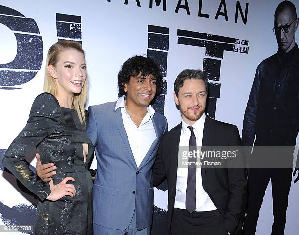 Actress Anya TaylorJoy Director writer producer M Night Shyamalan and actor James McAvoy attend 'Split' New York Premiere at SVA Theater on January...