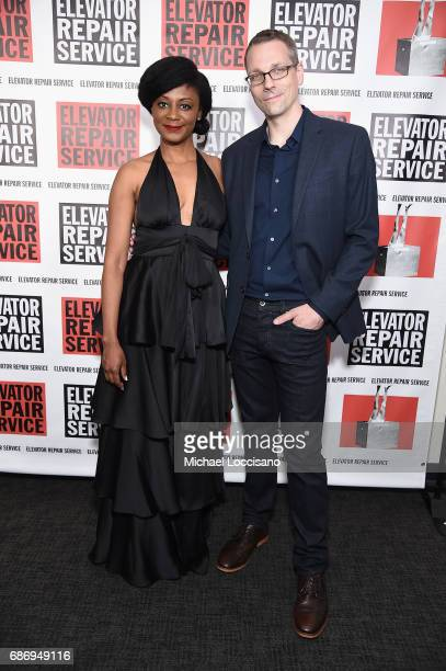 Actress April Matthis and Ben Williams attend the Elevator Repair Service Theater 25th Anniversary Gala at Tribeca Rooftop on May 22 2017 in New York...