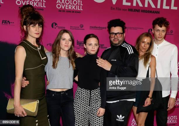 Actress Araceli Jover director Helene Hegemann actors Jasna Fritzi Bauer Oliver Polak guest and Julius Feldmeier attend the AXOLOT Overkill premiere...