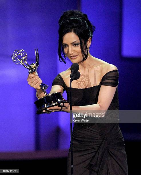 Actress Archie Panjabi accepts the Outstanding Supporting Actress in a Drama Series award onstage at the 62nd Annual Primetime Emmy Awards held at...