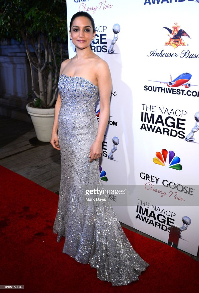 Actress Archie Panjabi arrives at the 44th NAACP Image Awards after party held at the Millennium Biltmore Hotel on February 1, 2013 in Los Angeles, California.