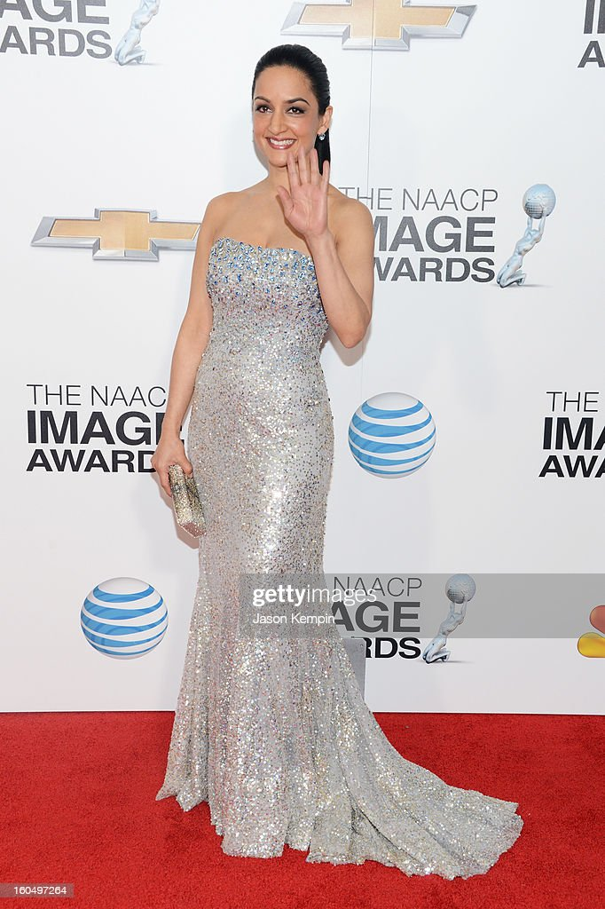 Actress Archie Panjabi arrives at the 44th NAACP Image Awards held at The Shrine Auditorium on February 1, 2013 in Los Angeles, California.