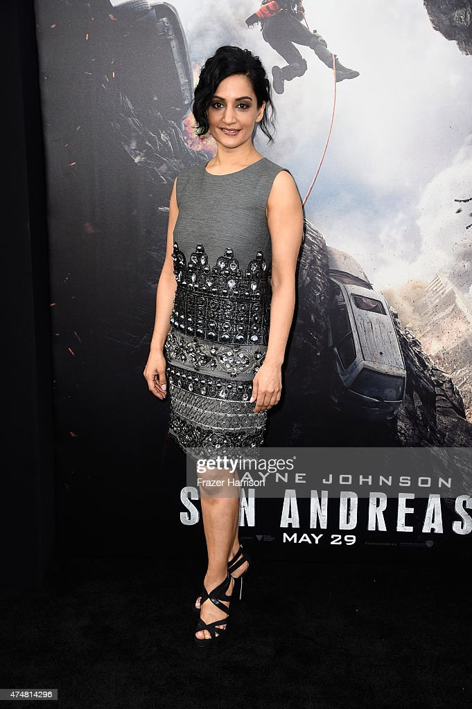 Actress <a gi-track='captionPersonalityLinkClicked' href=/galleries/search?phrase=Archie+Panjabi&family=editorial&specificpeople=811427 ng-click='$event.stopPropagation()'>Archie Panjabi</a> attends the premiere of Warner Bros. Pictures' 'San Andreas' at the TCL Chinese Theatre on May 26, 2015 in Hollywood, California.