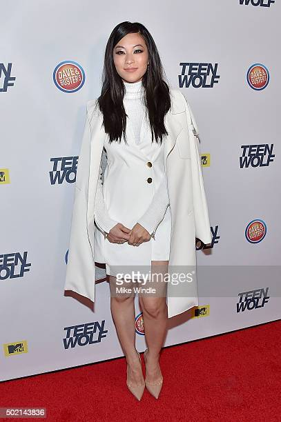 Actress Arden Cho attends the MTV Teen Wolf Los Angeles premiere party at Dave Busters on December 20 2015 in Hollywood California