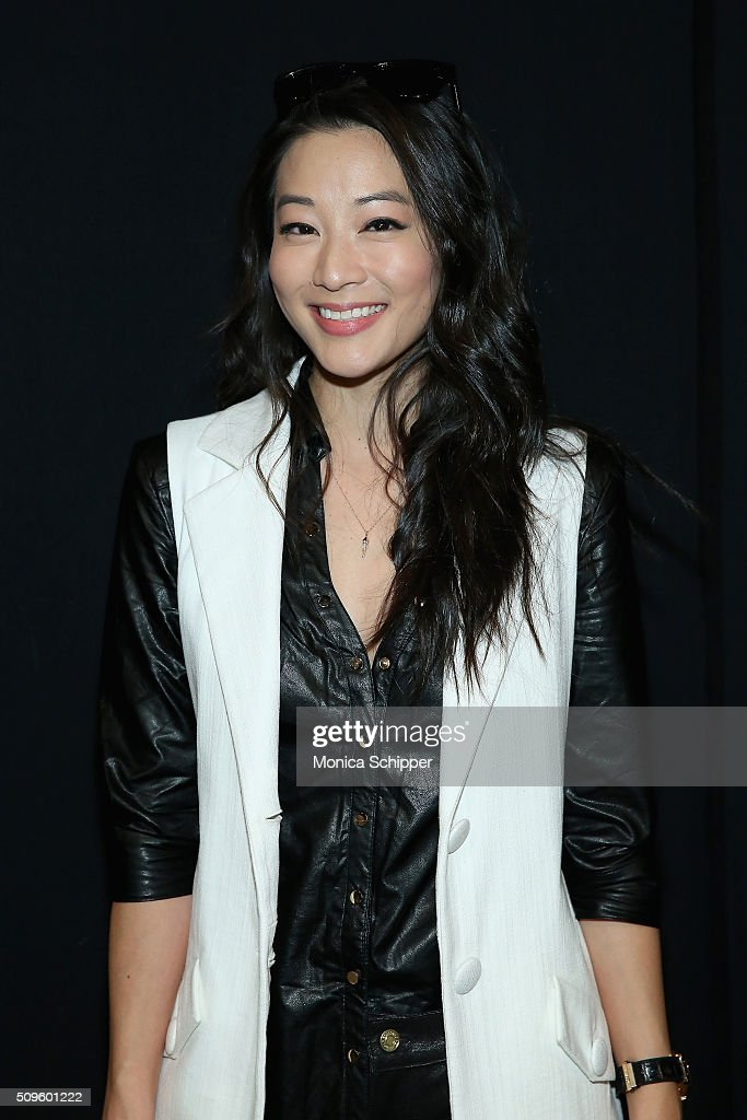 Actress <a gi-track='captionPersonalityLinkClicked' href=/galleries/search?phrase=Arden+Cho&family=editorial&specificpeople=4624089 ng-click='$event.stopPropagation()'>Arden Cho</a> poses backstage at Desigual fashion show during Fall 2016 New York Fashion Week: The Shows at The Arc, Skylight at Moynihan Station on February 11, 2016 in New York City.