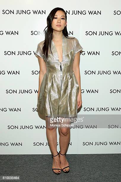 Actress Arden Cho poses backstage at the Son Jung Wan Fall 2016 fashion show during New York Fashion Week The Shows at The Dock Skylight at Moynihan...