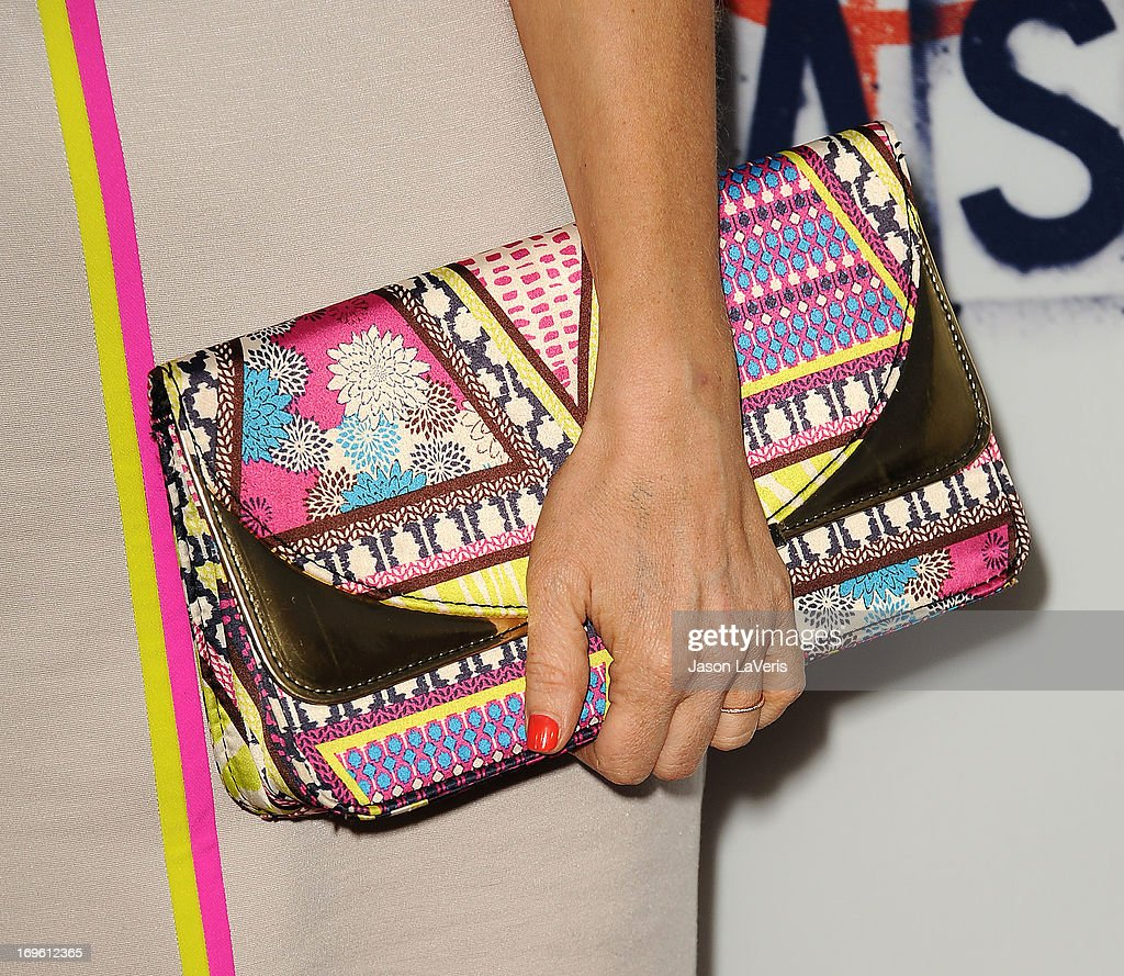 Actress Arden Myrin (handbag detail) attends the premiere of 'The East' at ArcLight Hollywood on May 28, 2013 in Hollywood, California.