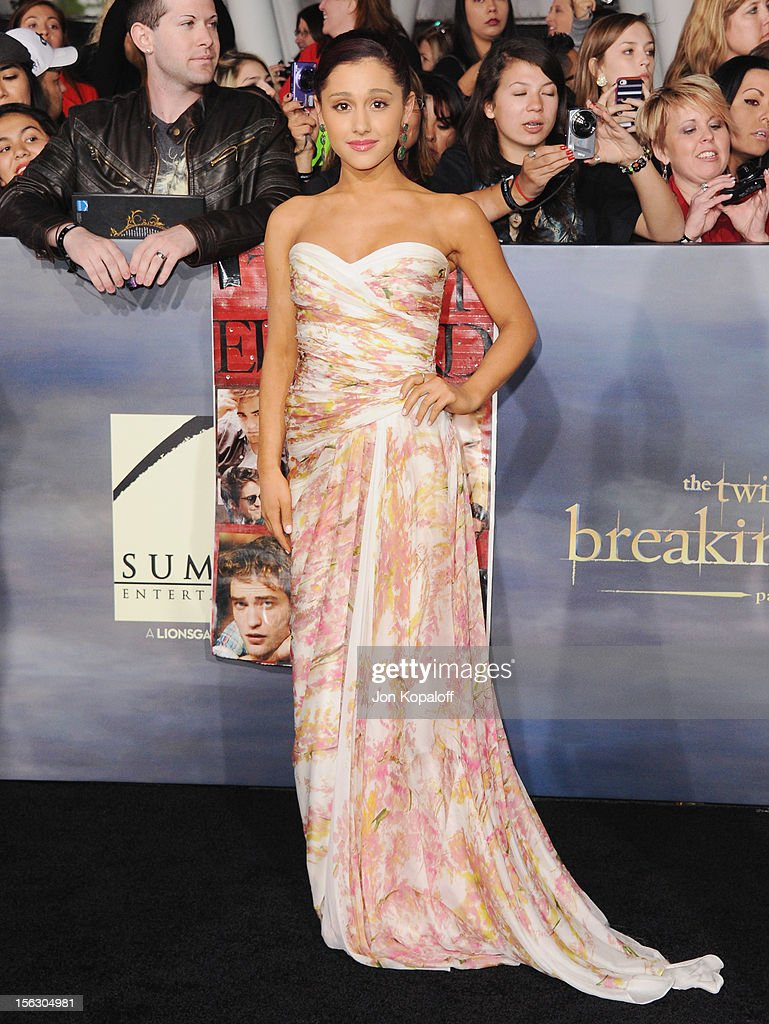 Actress <a gi-track='captionPersonalityLinkClicked' href=/galleries/search?phrase=Ariana+Grande&family=editorial&specificpeople=5586219 ng-click='$event.stopPropagation()'>Ariana Grande</a> arrives at the Los Angeles Premiere 'The Twilight Saga: Breaking Dawn - Part 2' at Nokia Theatre L.A. Live on November 12, 2012 in Los Angeles, California.