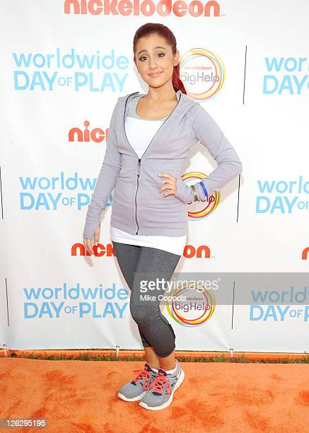 Actress Ariana Grande celebrates Nickelodeon's largest ever Worldwide Day of Play at the Ellipse on September 24 2011 in Washington DC