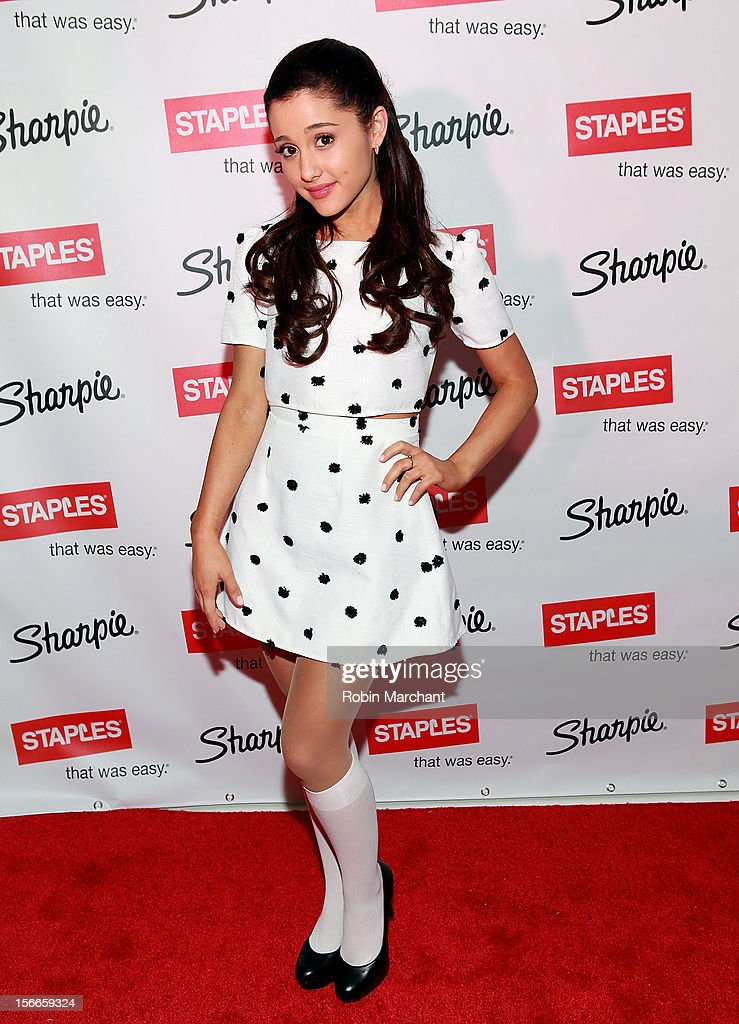 Actress Ariana Grande Hosts Sharpies One Direction Fan Event at 404 Event Space on November 18 2012 in New York City