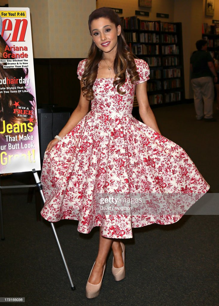 Actress Ariana Grande signs copies of the August edition of Seventeen Magazine at Barnes Noble at The Americana at Brand on July 8 2013 in Los...