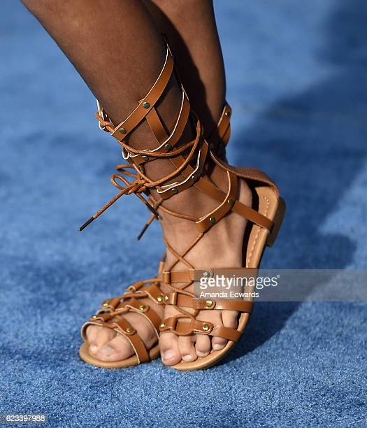Actress Ariana Greenblatt shoe detail arrives at the AFI FEST 2016 Presented By Audi premiere of Disney's 'Moana' at the El Capitan Theatre on...