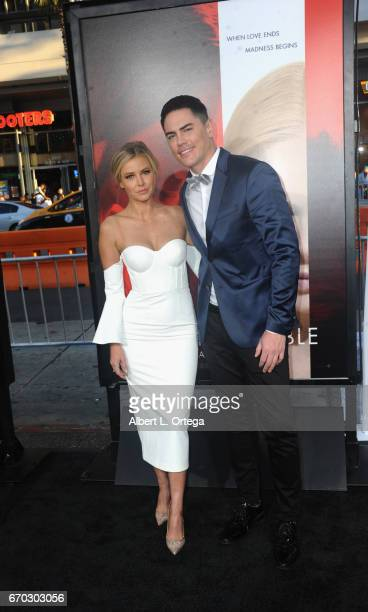 Actress Ariana Madix and actor Tom Sandoval arrive for the Premiere Of Warner Bros Pictures' 'Unforgettable' held at TCL Chinese Theatre on April 18...