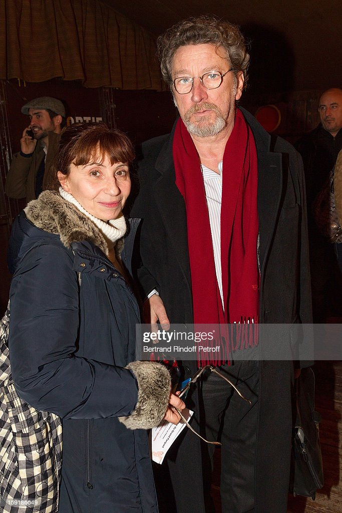 Actress Ariane Ascaride (L) and her husband, director Robert Guediguian, attend the 'Menelas rebetiko rapsodie' premiere at Le Grand Parquet on January 9, 2013 in Paris, France.