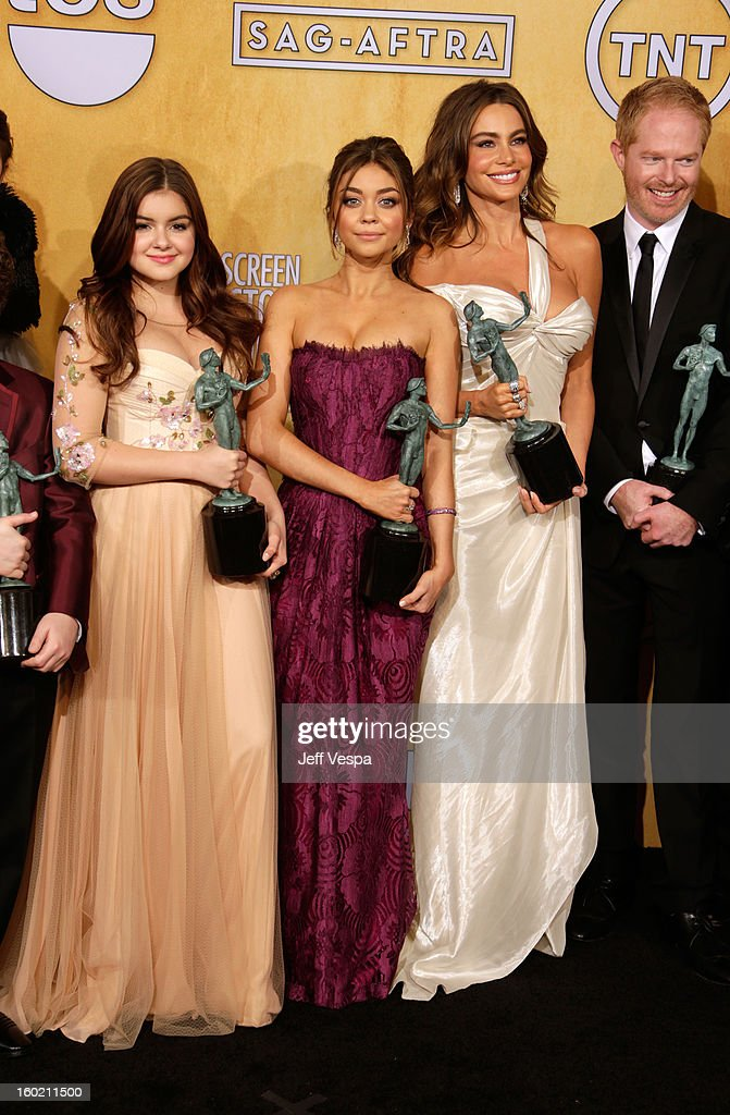 Actress <a gi-track='captionPersonalityLinkClicked' href=/galleries/search?phrase=Ariel+Winter&family=editorial&specificpeople=715954 ng-click='$event.stopPropagation()'>Ariel Winter</a>, actress <a gi-track='captionPersonalityLinkClicked' href=/galleries/search?phrase=Sarah+Hyland&family=editorial&specificpeople=3989646 ng-click='$event.stopPropagation()'>Sarah Hyland</a>, actress <a gi-track='captionPersonalityLinkClicked' href=/galleries/search?phrase=Sofia+Vergara&family=editorial&specificpeople=214702 ng-click='$event.stopPropagation()'>Sofia Vergara</a> and actor <a gi-track='captionPersonalityLinkClicked' href=/galleries/search?phrase=Jesse+Tyler+Ferguson&family=editorial&specificpeople=633114 ng-click='$event.stopPropagation()'>Jesse Tyler Ferguson</a> pose in the press room during the 19th Annual Screen Actors Guild Awards held at The Shrine Auditorium on January 27, 2013 in Los Angeles, California.