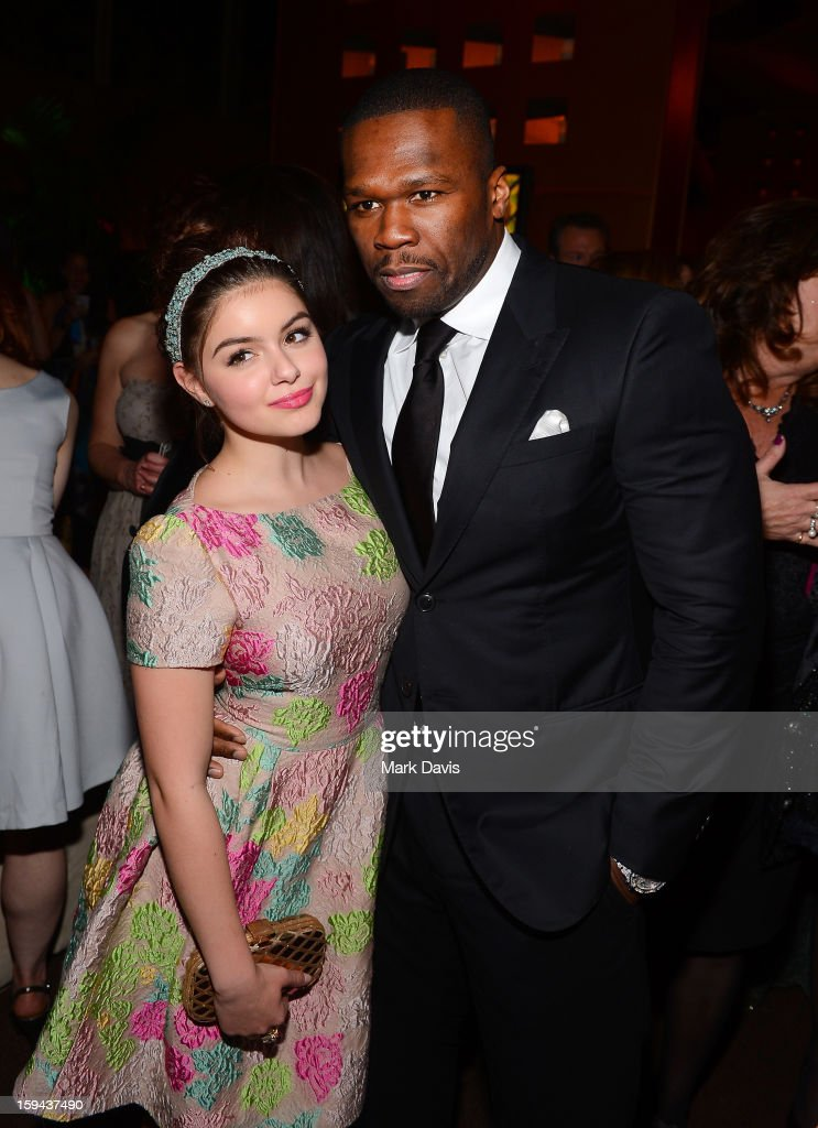 Actress <a gi-track='captionPersonalityLinkClicked' href=/galleries/search?phrase=Ariel+Winter&family=editorial&specificpeople=715954 ng-click='$event.stopPropagation()'>Ariel Winter</a> (L) and rapper <a gi-track='captionPersonalityLinkClicked' href=/galleries/search?phrase=50+Cent+-+Rapper&family=editorial&specificpeople=215363 ng-click='$event.stopPropagation()'>50 Cent</a> attend the FOX After Party for the 70th Annual Golden Globe Awards held at The FOX Pavillion at The Beverly Hilton Hotel on January 13, 2013 in Beverly Hills, California.