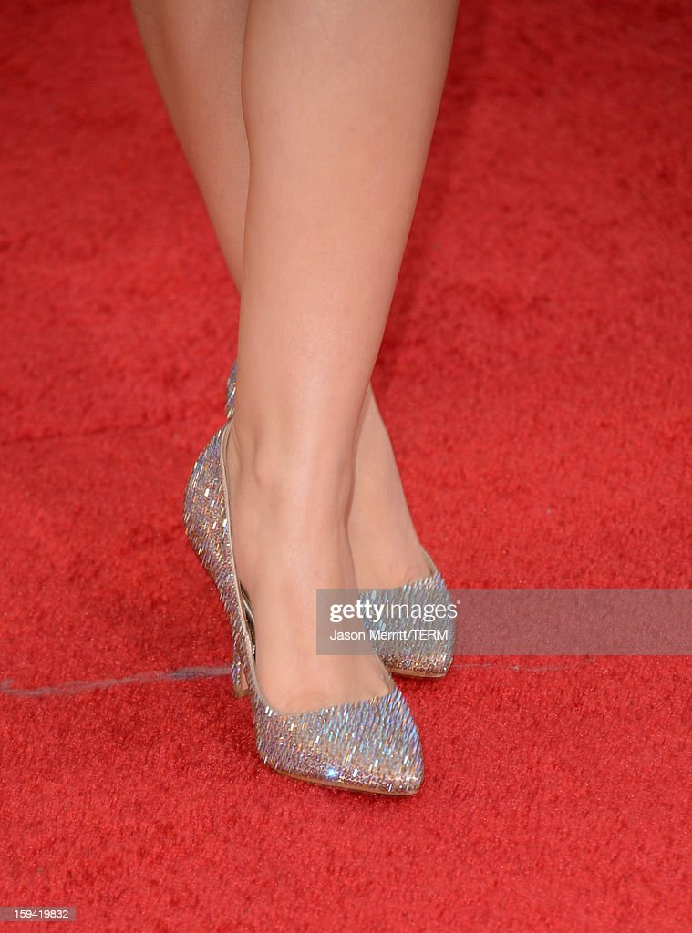 Actress Ariel Winter (shoe detail) arrives at the 70th Annual Golden Globe Awards held at The Beverly Hilton Hotel on January 13, 2013 in Beverly Hills, California.