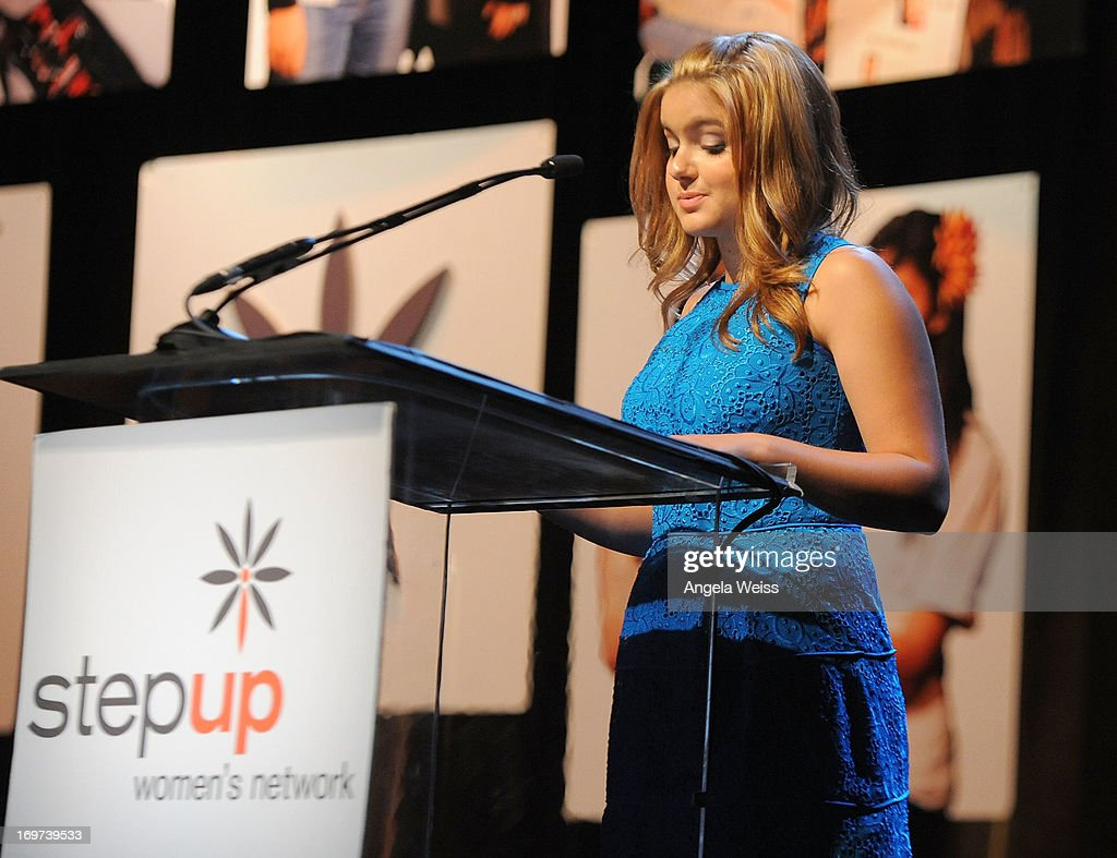 Actress <a gi-track='captionPersonalityLinkClicked' href=/galleries/search?phrase=Ariel+Winter&family=editorial&specificpeople=715954 ng-click='$event.stopPropagation()'>Ariel Winter</a> speaks at Step Up Women's Network 10th annual Inspiration Awards at The Beverly Hilton Hotel on May 31, 2013 in Beverly Hills, California.