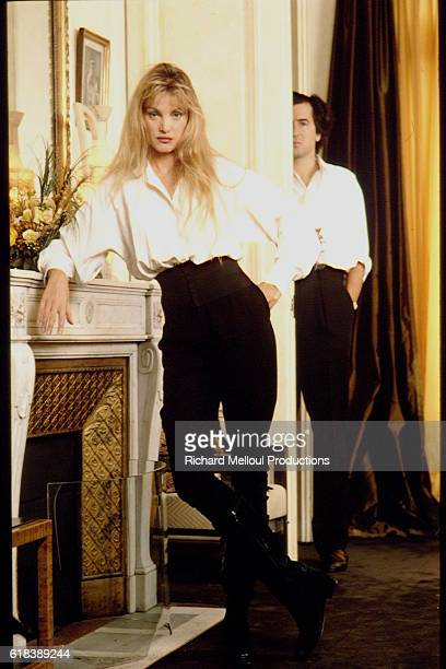 Actress Arielle Dombasle and Philosopher Bernard-Henri Levy at Home in Paris