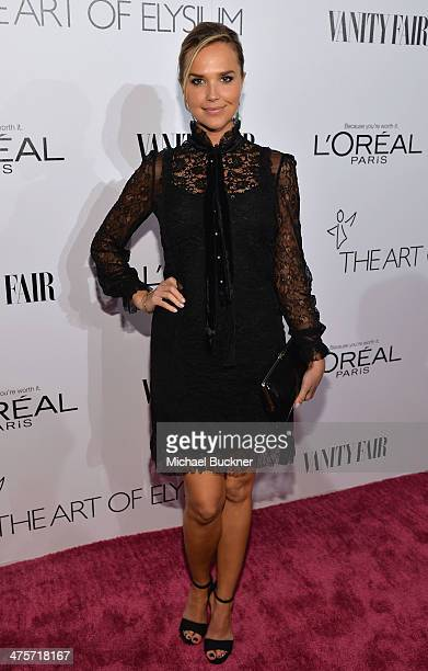 Actress Arielle Kebbel attends DJ Night with L'Oreal Paris during Vanity Fair Campaign Hollywood at Sadie Kitchen and Lounge on February 28 2014 in...