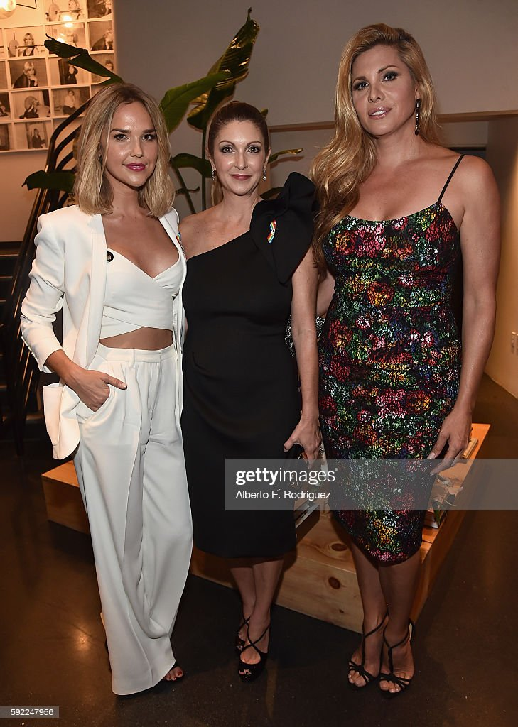 Actress Arielle Kebbel, Pulse Nightclub and onePULSE Foundation founder, Barbara Poma and actress Candis Cayne attend a cocktail reception Benefit for onePULSE Foundation at NeueHouse Hollywood on August 19, 2016 in Los Angeles, California.