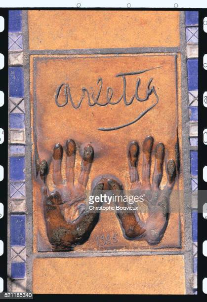 Actress Arletty's Hand Prints in the Passage of the Stars