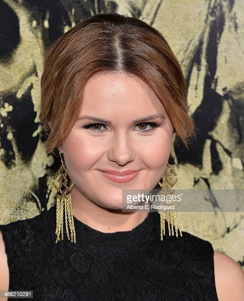 Actress Ashlee Keating arrives to the Los Angeles Premiere of Lionsgate Films' 'The Quiet Ones' at The Theatre At Ace Hotel on April 22 2014 in Los...