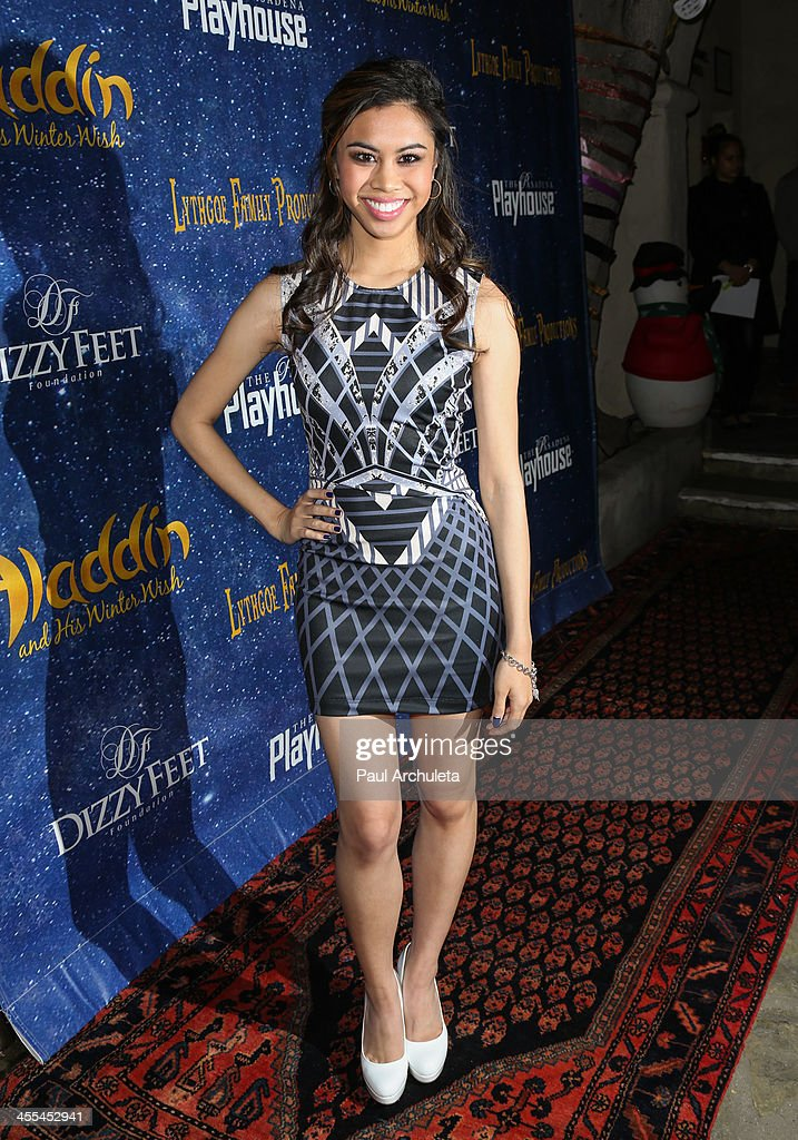 Actress <a gi-track='captionPersonalityLinkClicked' href=/galleries/search?phrase=Ashley+Argota&family=editorial&specificpeople=5626349 ng-click='$event.stopPropagation()'>Ashley Argota</a> attends the opening night of 'Aladdin And His Winter Wish' at the Pasadena Playhouse on December 11, 2013 in Pasadena, California.