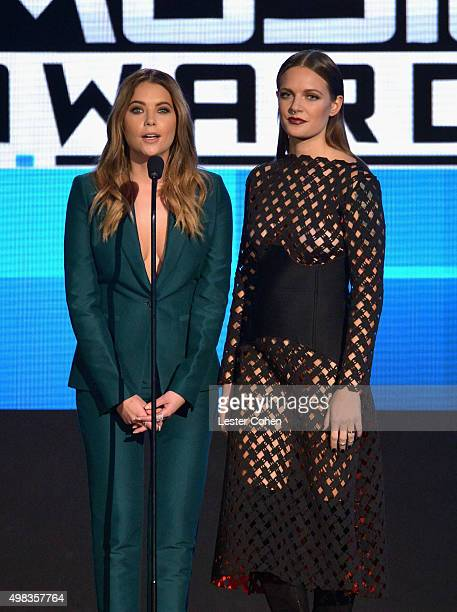 Actress Ashley Benson and recording artist Tove Lo speak onstage during the 2015 American Music Awards at Microsoft Theater on November 22 2015 in...