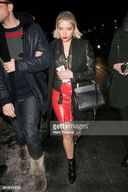 Actress Ashley Benson arrives at the Jeremy Scott show during New York Fashion Week at Gallery 1 Skylight Clarkson Sq on February 10 2017 in New York...