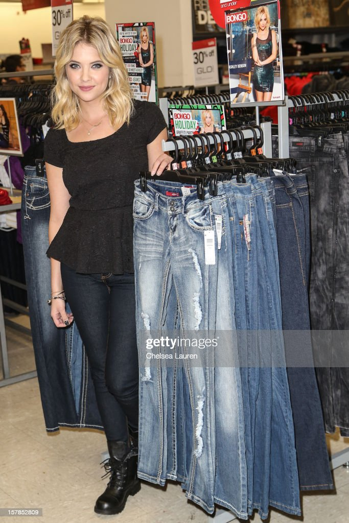 Actress <a gi-track='captionPersonalityLinkClicked' href=/galleries/search?phrase=Ashley+Benson&family=editorial&specificpeople=594114 ng-click='$event.stopPropagation()'>Ashley Benson</a> attends the Bongo graffiti party at KMart on December 6, 2012 in Los Angeles, California.