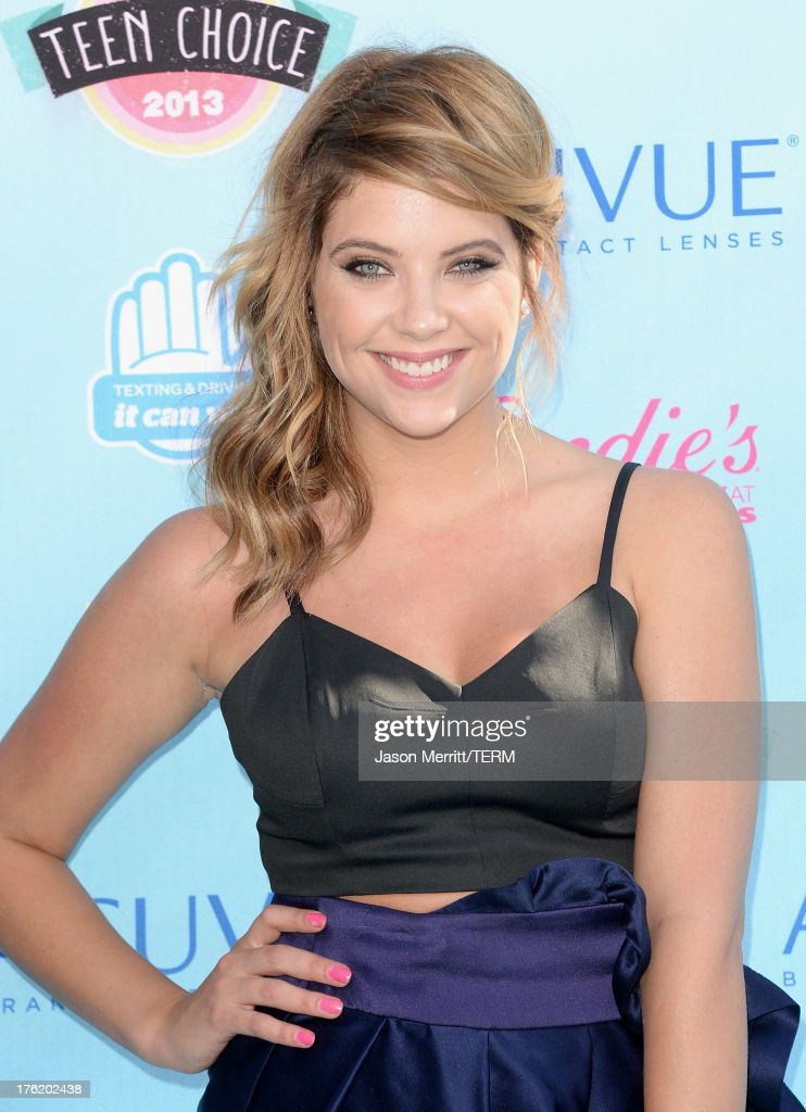 Actress <a gi-track='captionPersonalityLinkClicked' href=/galleries/search?phrase=Ashley+Benson&family=editorial&specificpeople=594114 ng-click='$event.stopPropagation()'>Ashley Benson</a> attends the Teen Choice Awards 2013 at Gibson Amphitheatre on August 11, 2013 in Universal City, California.